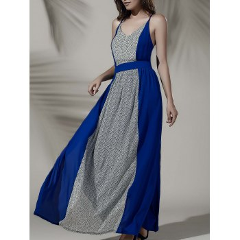 Chic Open Back Furcal Hit Color Dress For Women