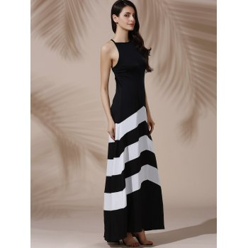 Sexy Sleeveless Halter Color Block Women's Dress - WHITE/BLACK S