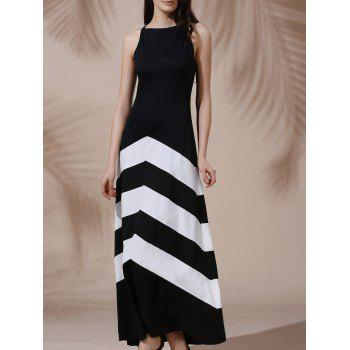 Sexy Sleeveless Halter Color Block Women's Dress