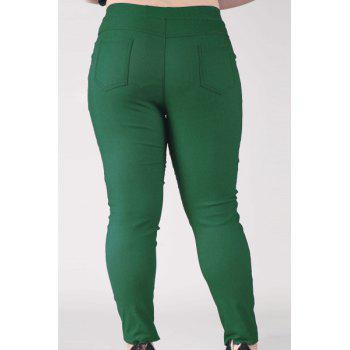 Fashionable Women's High-Waisted Stretchy Plus Size Pants - BLACKISH GREEN BLACKISH GREEN