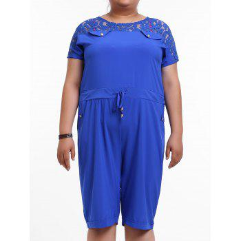 Brief Women's Round Neck Lace-Up Short Sleeve Romper - BLUE L