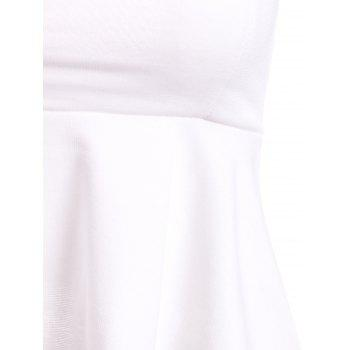 Elegant Off-The-Shoulder Short Sleeve Solid Color Hollow Out Women's T-Shirt - WHITE XS