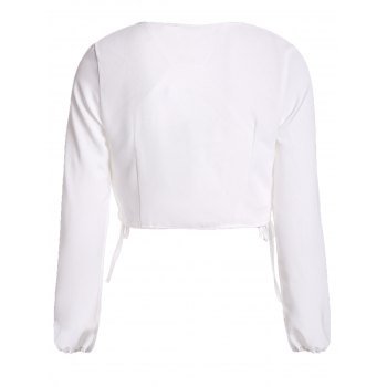 Trendy Plunging Neck Long Sleeve Tie-Front Solid Color Women's Crop Top - WHITE S
