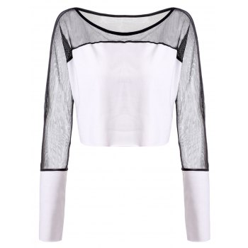 Stylish Round Neck Long Sleeve See-Through Loose Women's T-Shirt