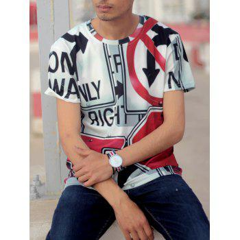 Casual Round Neck Letters Print Arrows Pattern Short Sleeve Men's T-Shirt