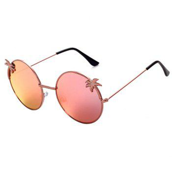 Chic Tropical Coconut Tree Shape Embellished Women's Round Sunglasses - PINK PINK