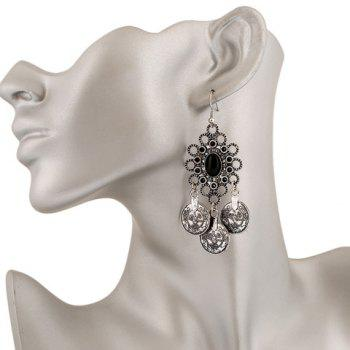 Pair of Faux Gem Coin Tassel Drop Earrings - SILVER GRAY