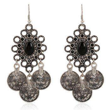 Pair of Faux Gem Coin Tassel Drop Earrings