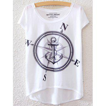 Chic Anchor Pattern Short Sleeve T-Shirt For Women