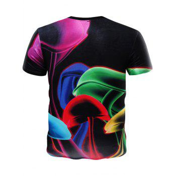Casual 3D Round Neck Colored Mushroom Pattern Short Sleeve T-Shirt For Men - COLORMIX M
