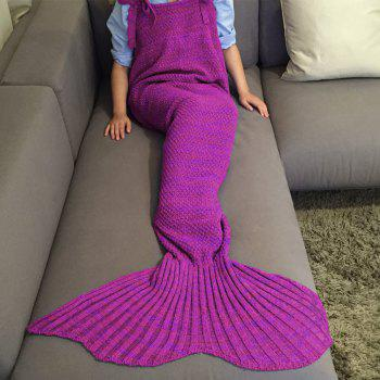 Chic Quality Comfortable Drawstring Style Knitted Mermaid Design Throw Blanket -  PURPLISH RED