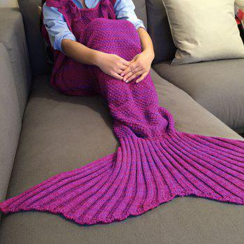 Chic Quality Comfortable Drawstring Style Knitted Mermaid Design Throw Blanket - PURPLISH RED PURPLISH RED