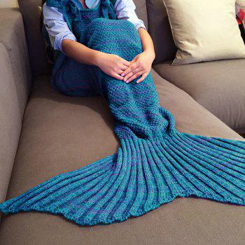 Chic Quality Comfortable Drawstring Style Knitted Mermaid Design Throw Blanket - BLUE AND RED BLUE/RED