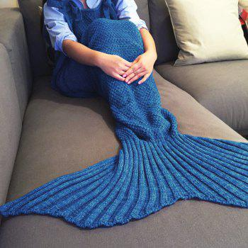 Chic Quality Comfortable Drawstring Style Knitted Mermaid Design Throw Blanket - BLUE BLUE