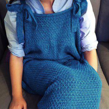 Chic Quality Comfortable Drawstring Style Knitted Mermaid Design Throw Blanket -  BLUE