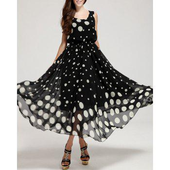 Trendy Sleeveless Scoop Neck Polka Dot Print Elastic Waist Women's Sundress