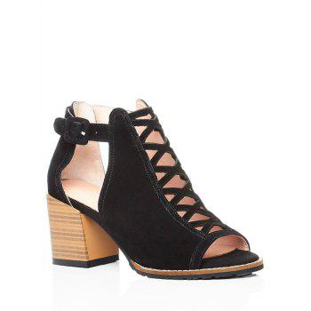 Trendy Criss-Cross and Chunky Heel Design Peep Toe Shoes For Women