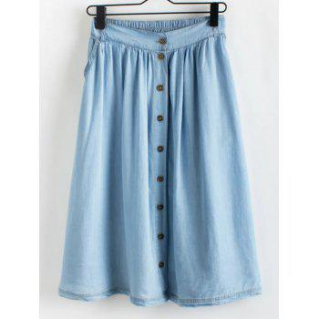 Stylish Buttoned Women's A-Line Skirt