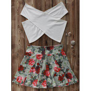 Stylish White Cross Crop Top and Floral A Line Skirt Women's Suit