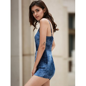 Trendy Plunging Neck Printed Waisted Romper For Women - DEEP BLUE XL