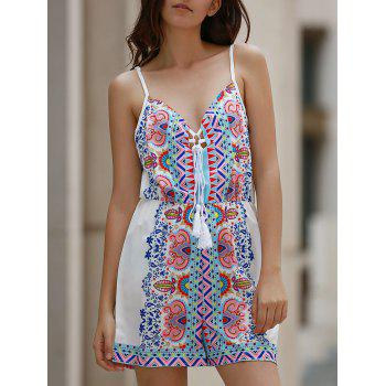 Trendy Spaghetti Straps Lace Up Printed Romper For Women