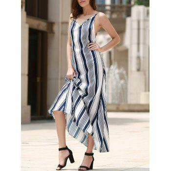 Bohemian Backless Vertical Stripe Women's Beach Dress