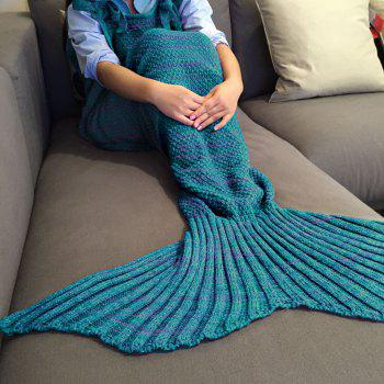 Chic Quality Comfortable Drawstring Style Knitted Mermaid Design Throw Blanket - TURQUOISE TURQUOISE