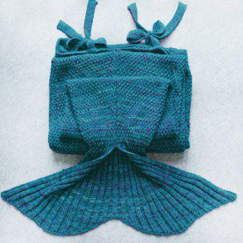 Chic Quality Comfortable Drawstring Style Knitted Mermaid Design Throw Blanket -  TURQUOISE