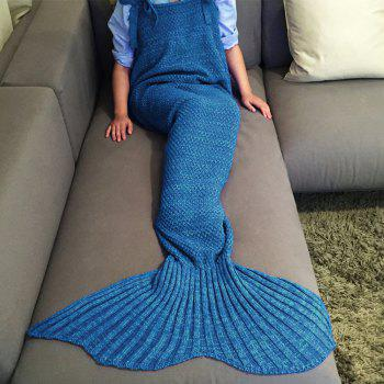 High Quality Drawstring Style Knitted Mermaid Design Sleeping Bag Blanket -  BLUE