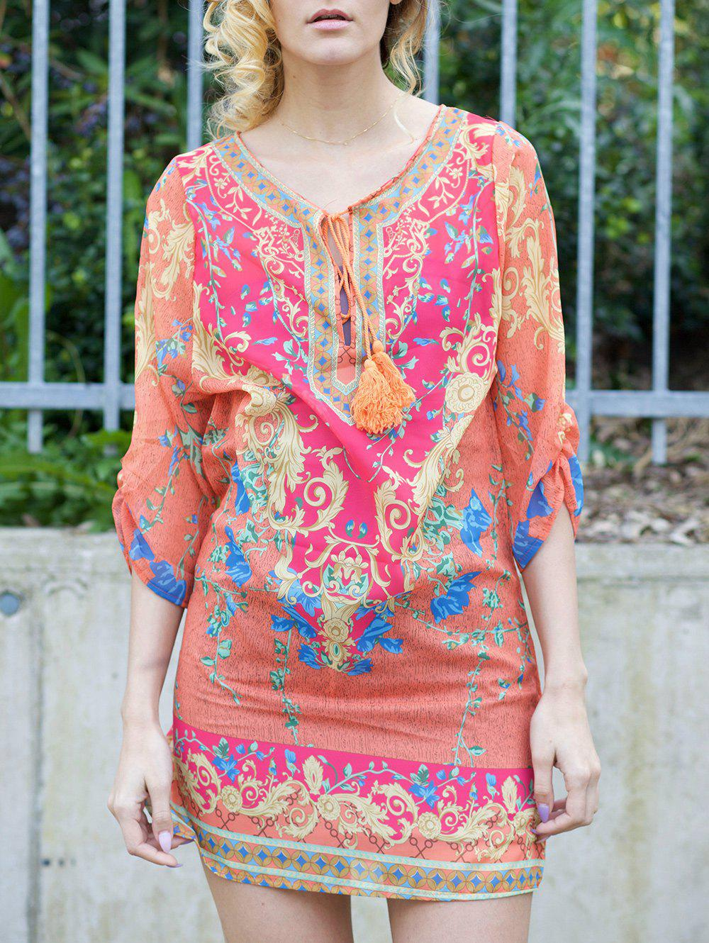 Chic Style Printed Shift V Neck 3/4 Sleeve Dress For Women