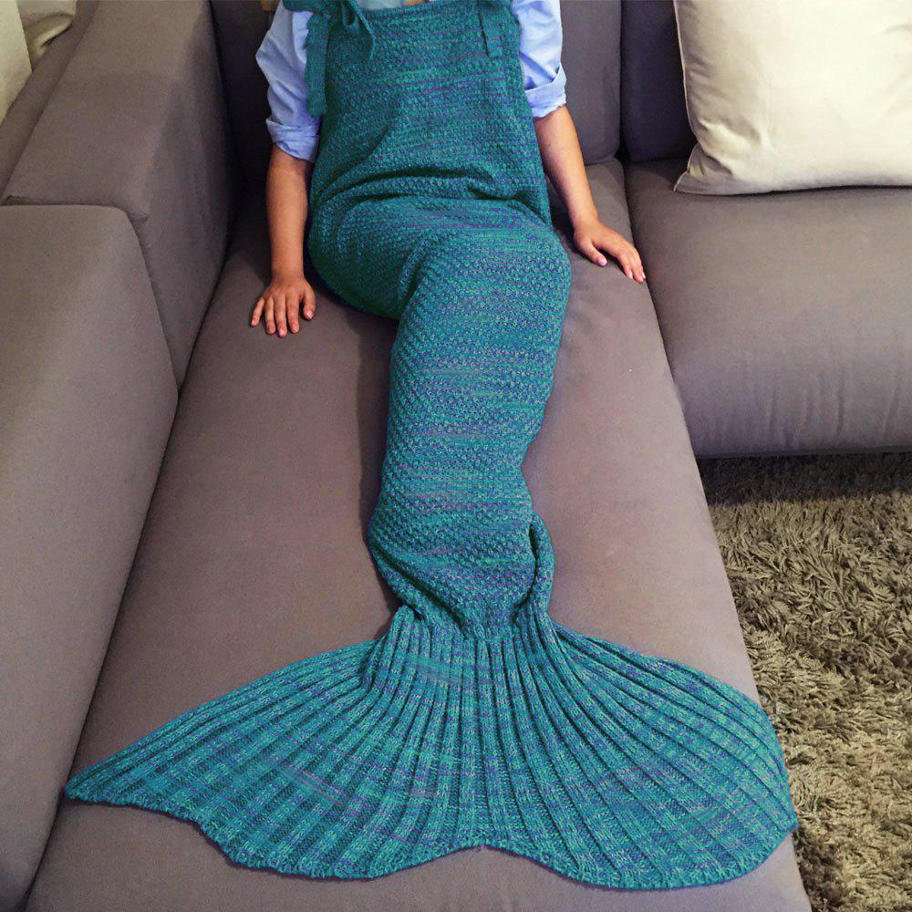 High Quality Drawstring Style Knitted Mermaid Design Sleeping Bag Blanket - TURQUOISE