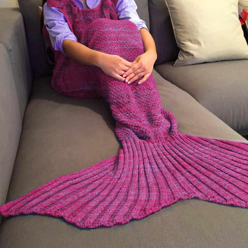 Chic Quality Comfortable Drawstring Style Knitted Mermaid Design Throw Blanket - ROSE