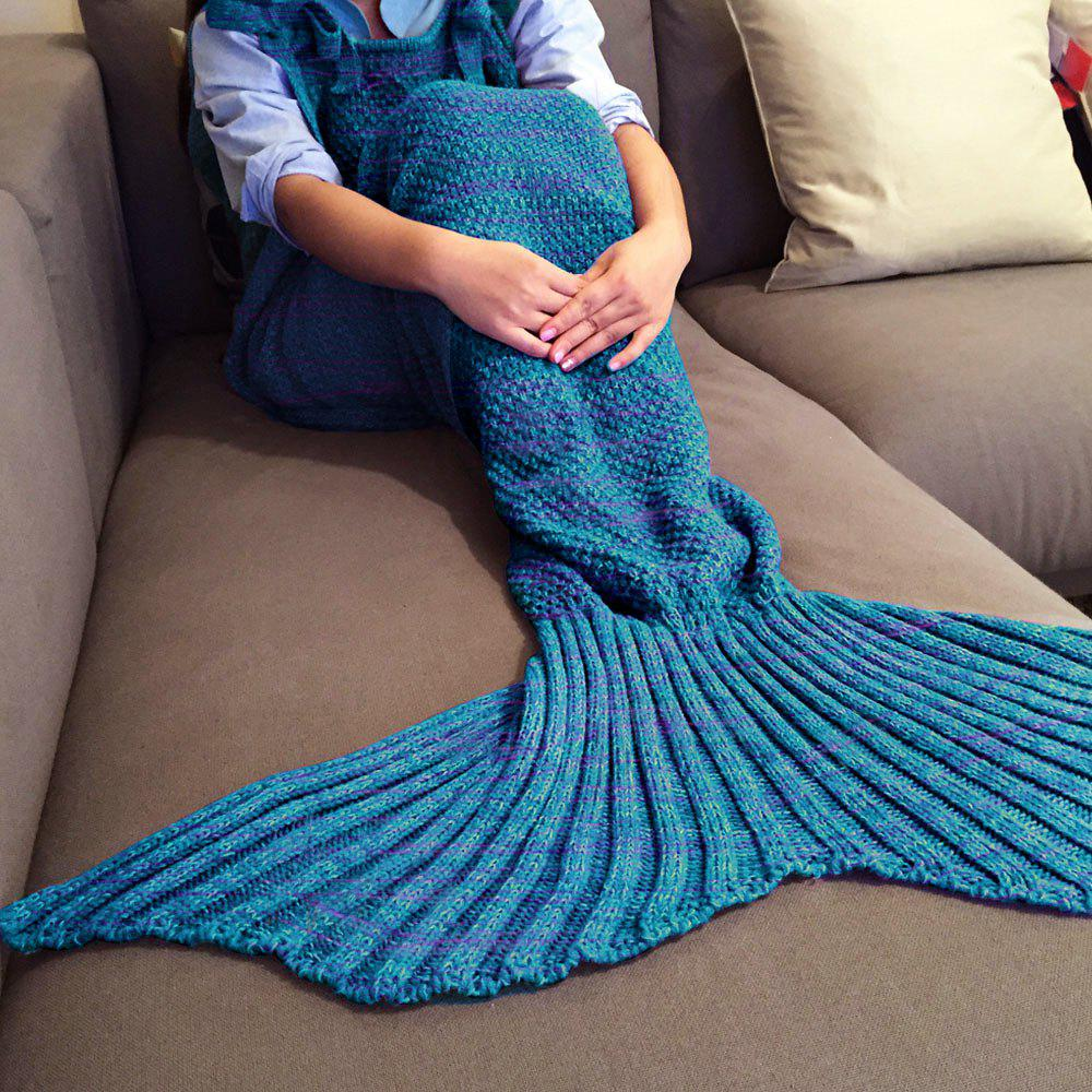 Chic Quality Comfortable Drawstring Style Knitted Mermaid Design Throw Blanket - BLUE/RED