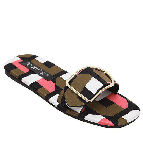 Stylish Multicolor and Geometric Pattern Design Women's Slippers - PINK 38