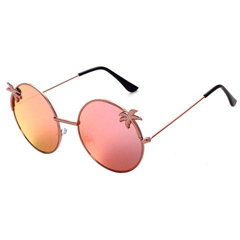 Chic Tropical Coconut Tree Shape Embellished Women's Round Sunglasses - PINK