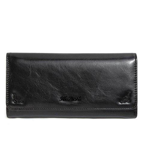 Concise Tri-Fold and Letter Design Women's Wallet - BLACK