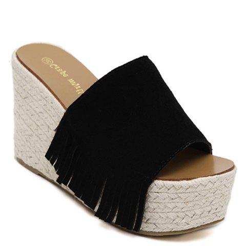 Fashionable Fringe and Suede Design Women's Slippers - BLACK 38