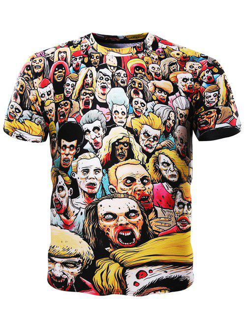 Trendy 3D Round Neck Cartoon Dire Zombies Printed Short Sleeve T-Shirt For Men - COLORMIX M