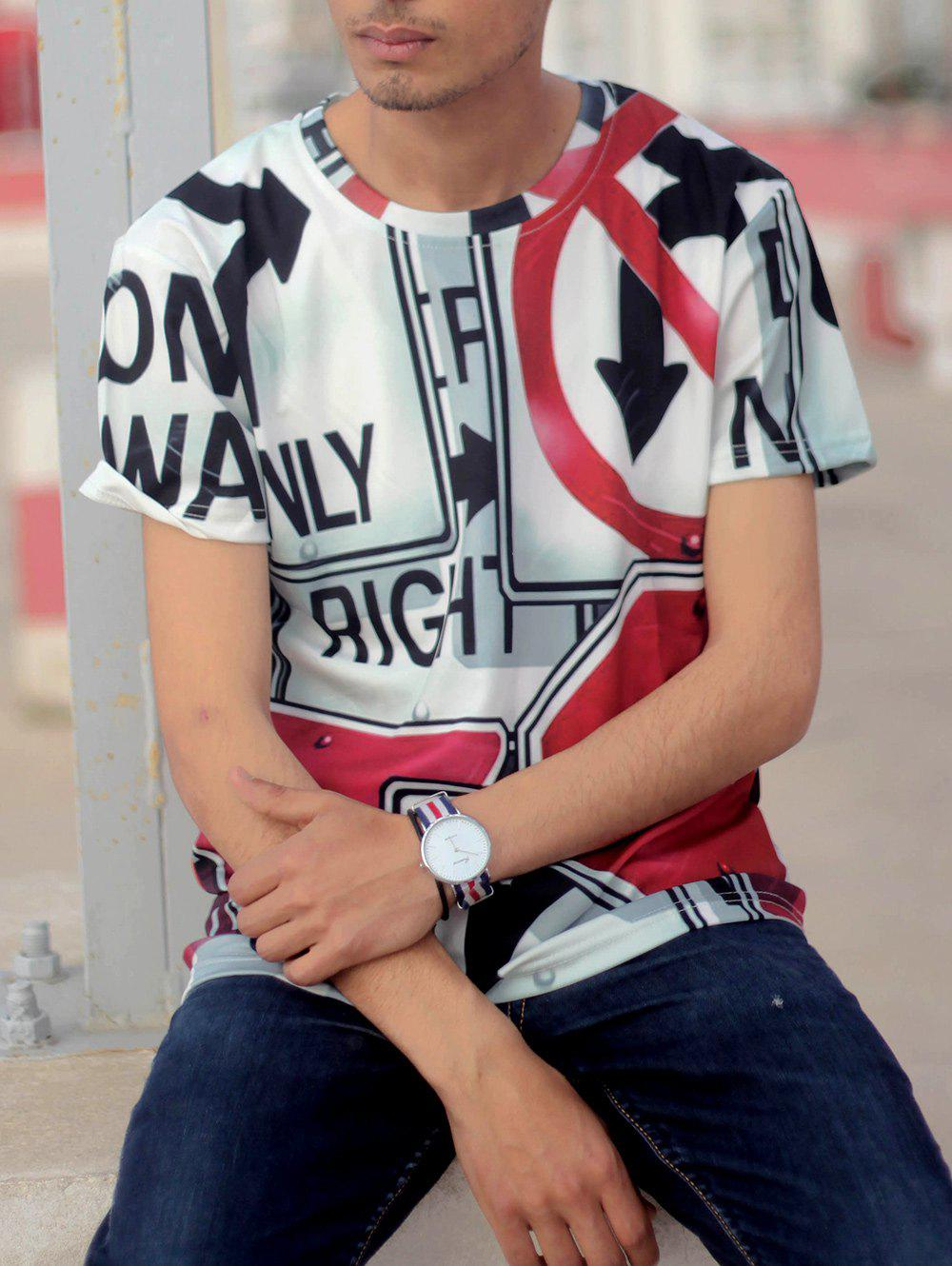 Casual Round Neck Letters Print Arrows Pattern Short Sleeve Men's T-Shirt - WHITE M