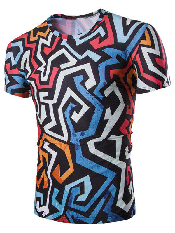 Men's 3D Irregularity Geometric Print Round Neck Short Sleeves T-Shirt - COLORMIX 2XL