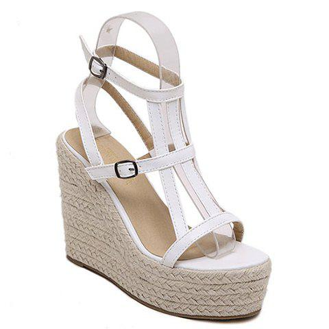 Stylish Double Buckle and Wedge Heel Design Women's Sandals - WHITE 34