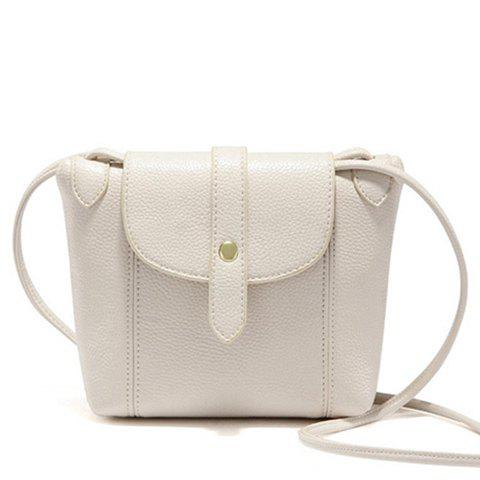Stylish Stitching and Solid Color Design Women's Crossbody Bag - OFF WHITE