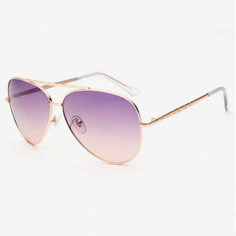 Chic Gradient Color Lenses Special Cruciform Women Aviator's Sunglasses - PURPLE