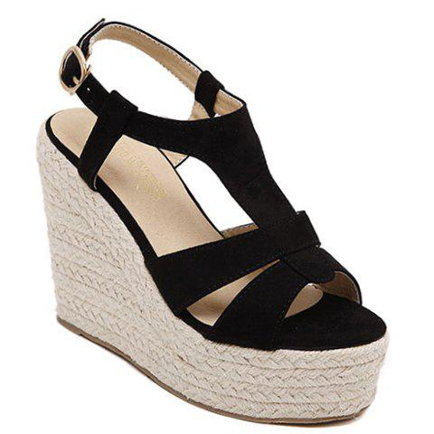 Stylish T-Strap and Platform Design Women's Sandals - BLACK 34