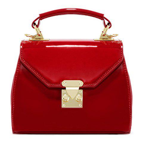 Retro Metal and Patent Leather Design Women's Crossbody Bag - WINE RED