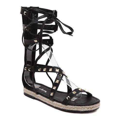 Casual Cross Straps and Rivets Design Women's Sandals - BLACK 38