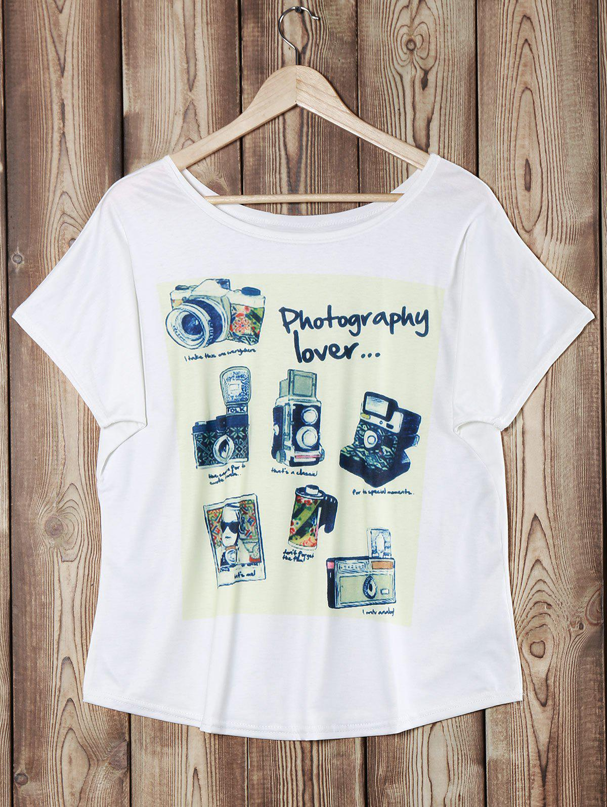 Camera Print Casual Scoop Neck Batwing Sleeve Women's T-Shirt - WHITE ONE SIZE
