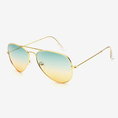 Chic Gradient Color Lenses Golden Metal Women Aviator's Sunglasses - YELLOW/GREEN