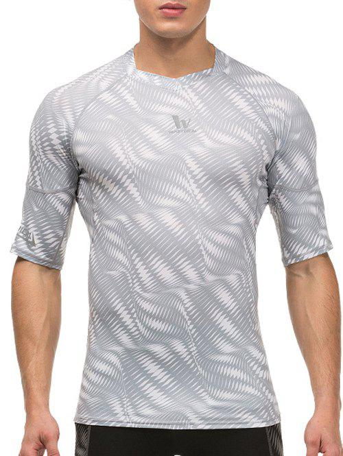 Round Neck Short Sleeve Geometric Print Quick-Dry Fitted Men's Training T-Shirt - WHITE M