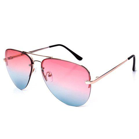 Chic Gradient Color Lenses Semi-Rimless Frame Women Aviator's Sunglasses